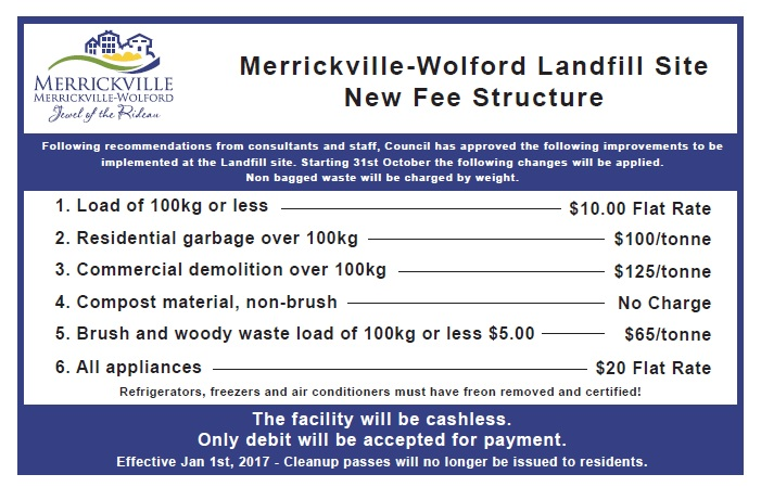 Landfill Site New Fee Structure